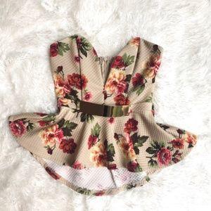 Mendocino Floral Peplum Top